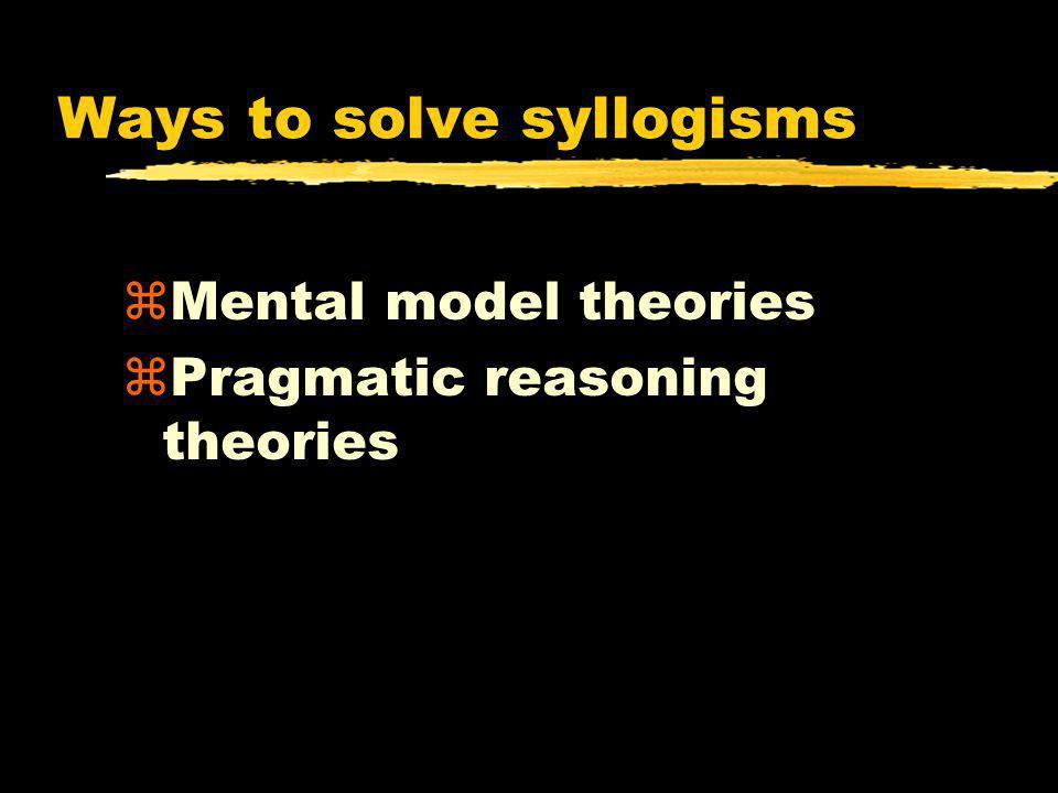 Ways to solve syllogisms