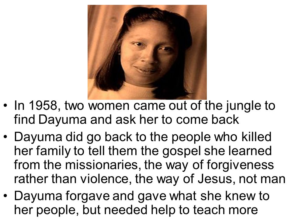 In 1958, two women came out of the jungle to find Dayuma and ask her to come back