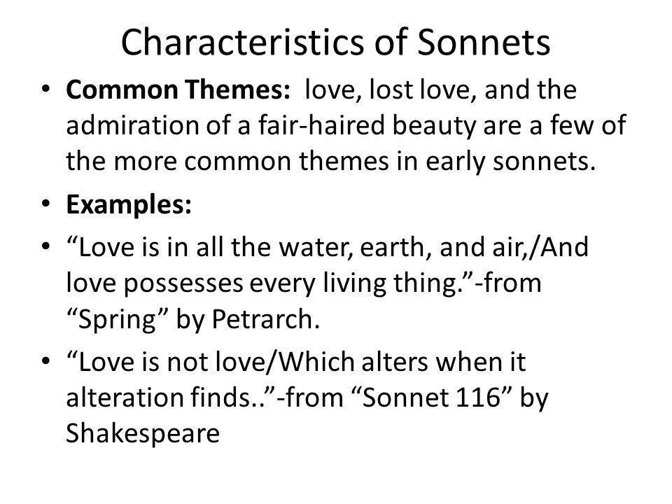 Characteristics of Sonnets