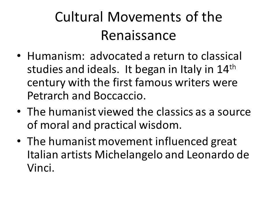 Cultural Movements of the Renaissance