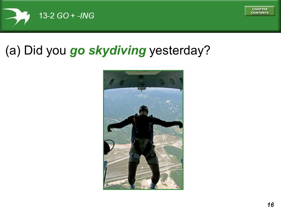 (a) Did you go skydiving yesterday