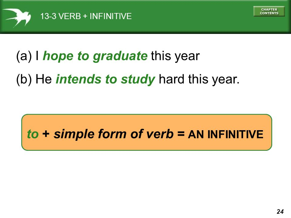 I hope to graduate this year (b) He intends to study hard this year.