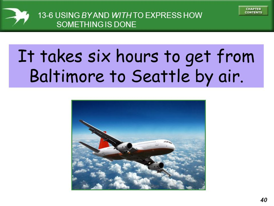 It takes six hours to get from Baltimore to Seattle by air.