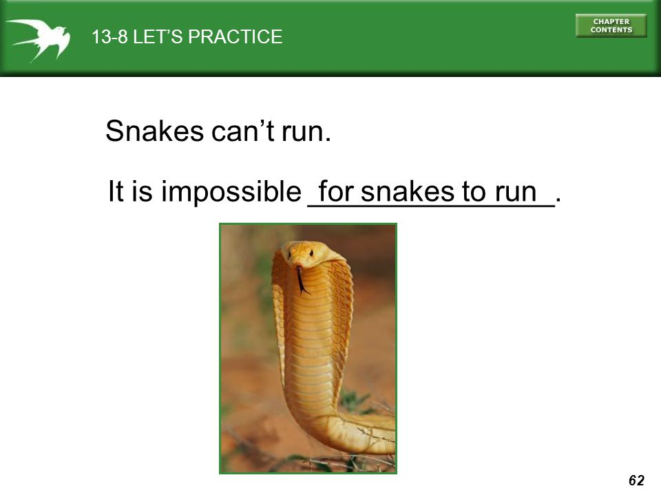 It is impossible _______________. for snakes to run
