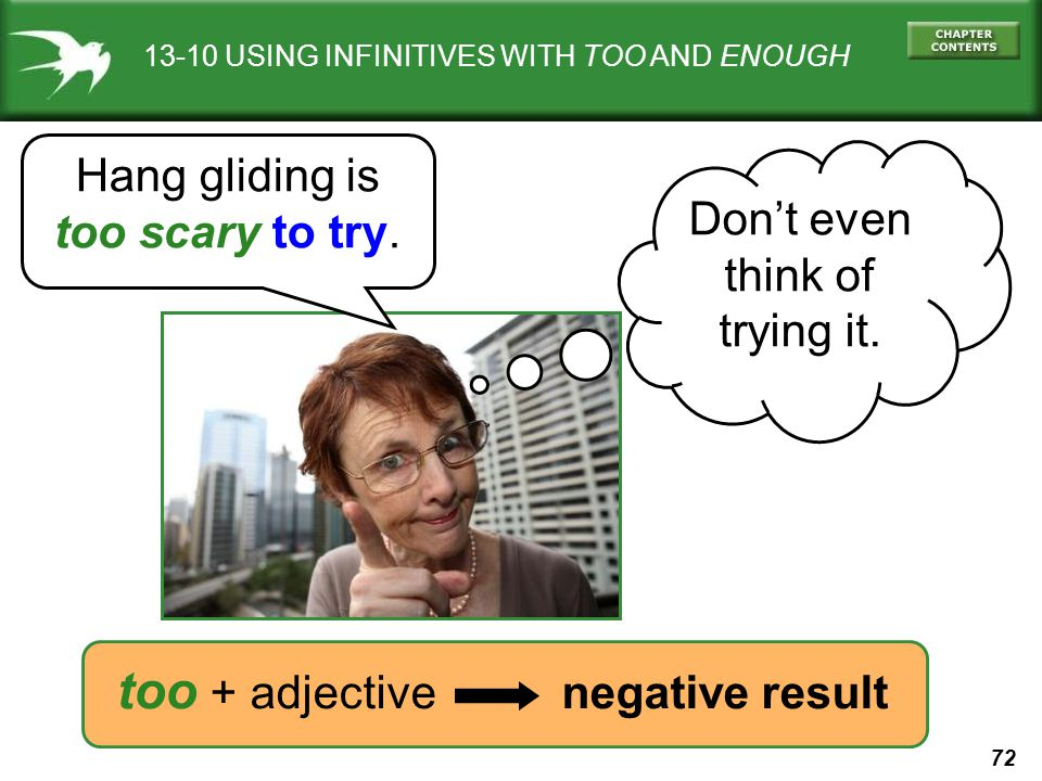 too + adjective negative result