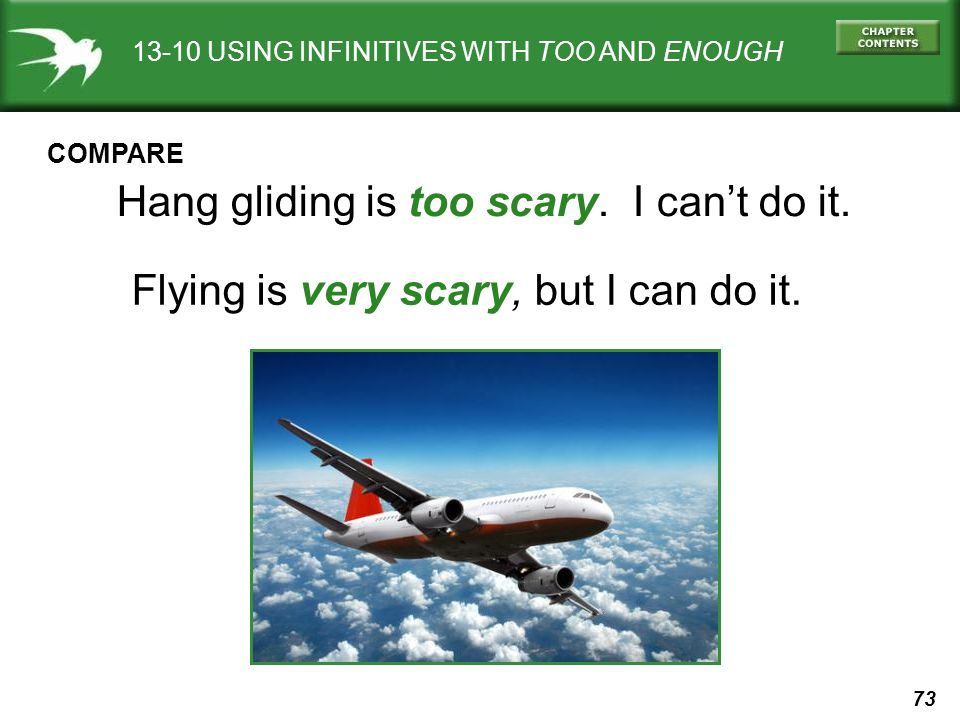 Hang gliding is too scary. I can't do it.