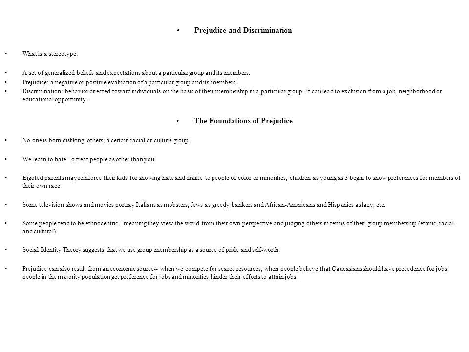 Prejudice and Discrimination The Foundations of Prejudice