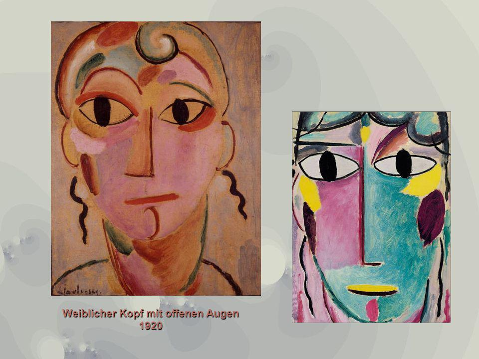 Weiblicher Kopf mit offenen Augen 1920