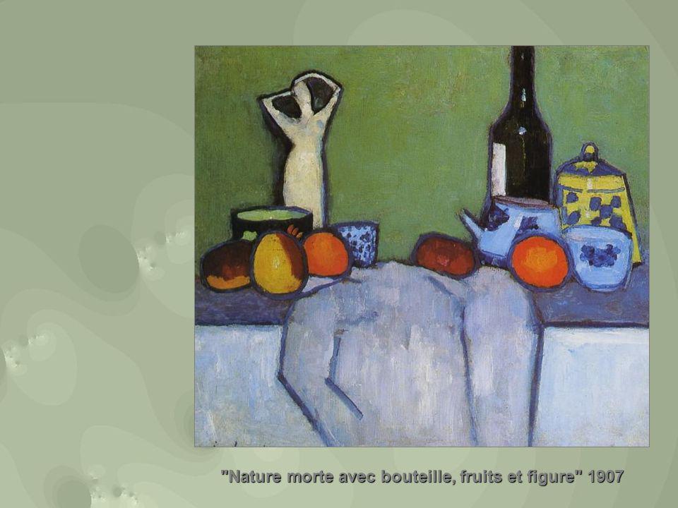 Nature morte avec bouteille, fruits et figure 1907