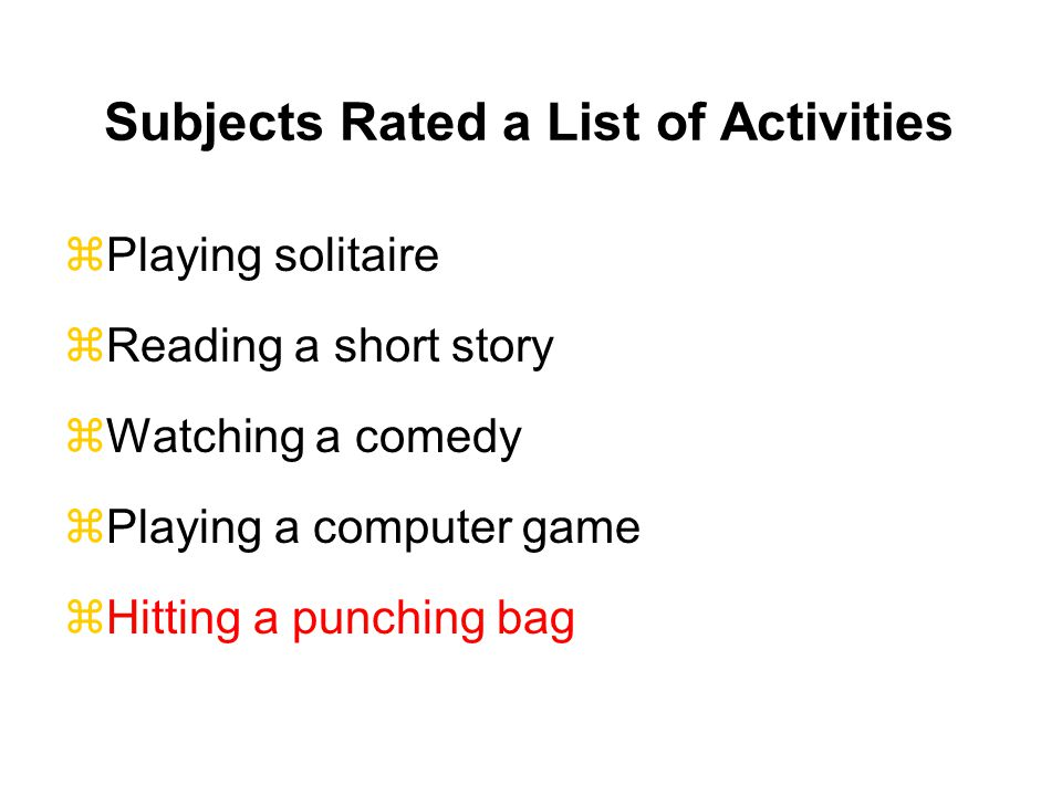 Subjects Rated a List of Activities