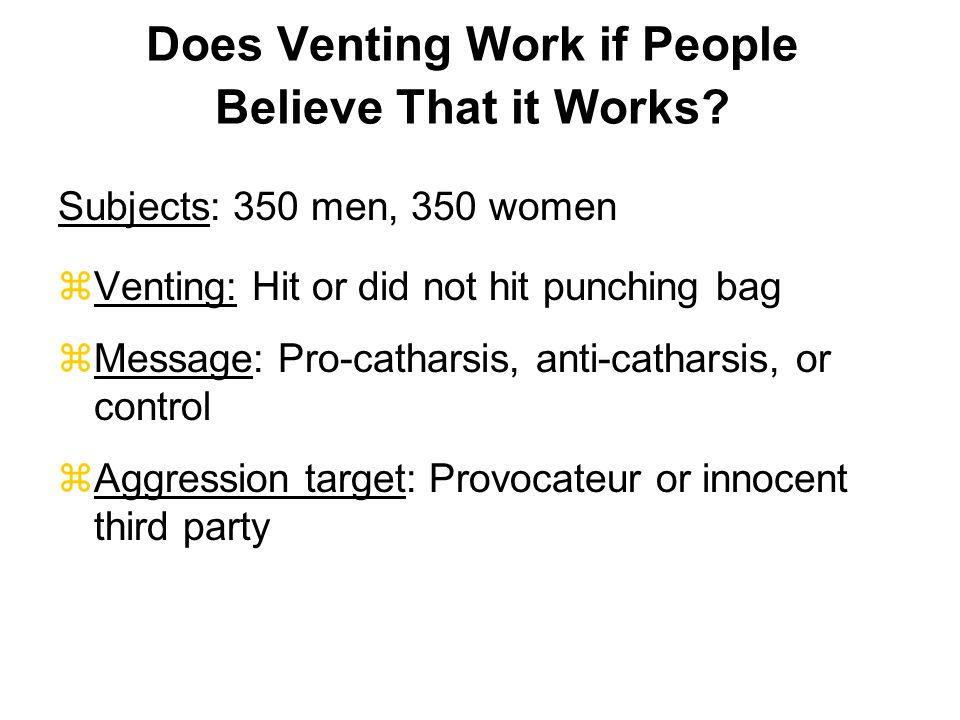 Does Venting Work if People Believe That it Works