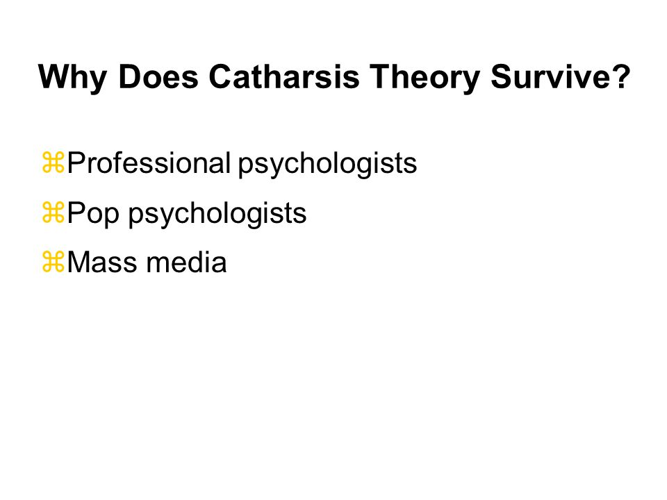 Why Does Catharsis Theory Survive