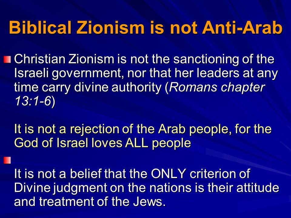 Biblical Zionism is not Anti-Arab