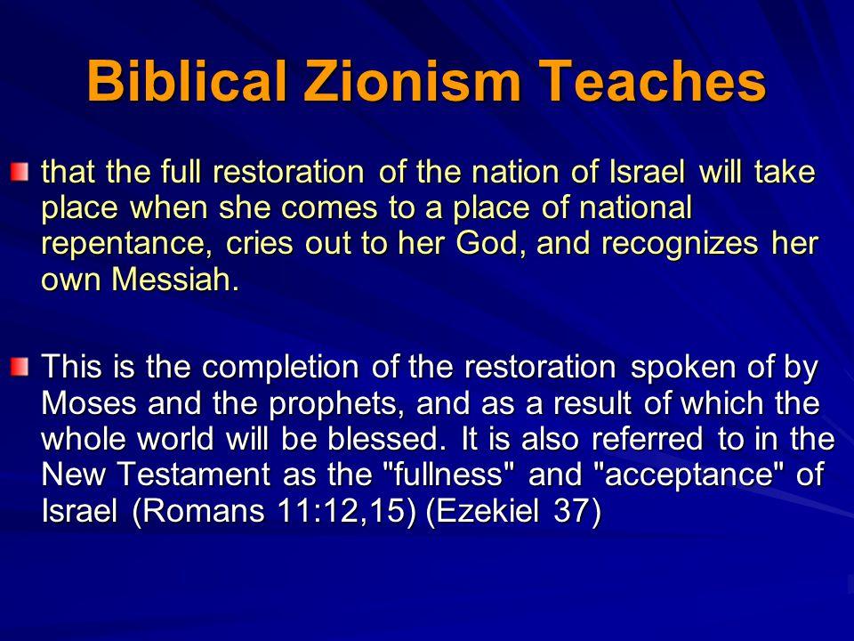 Biblical Zionism Teaches