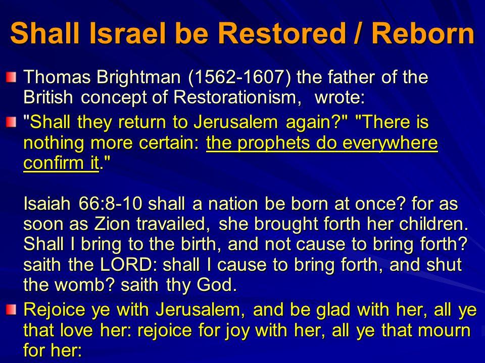 Shall Israel be Restored / Reborn