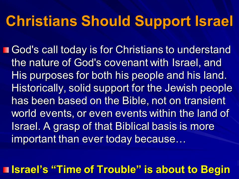 Christians Should Support Israel