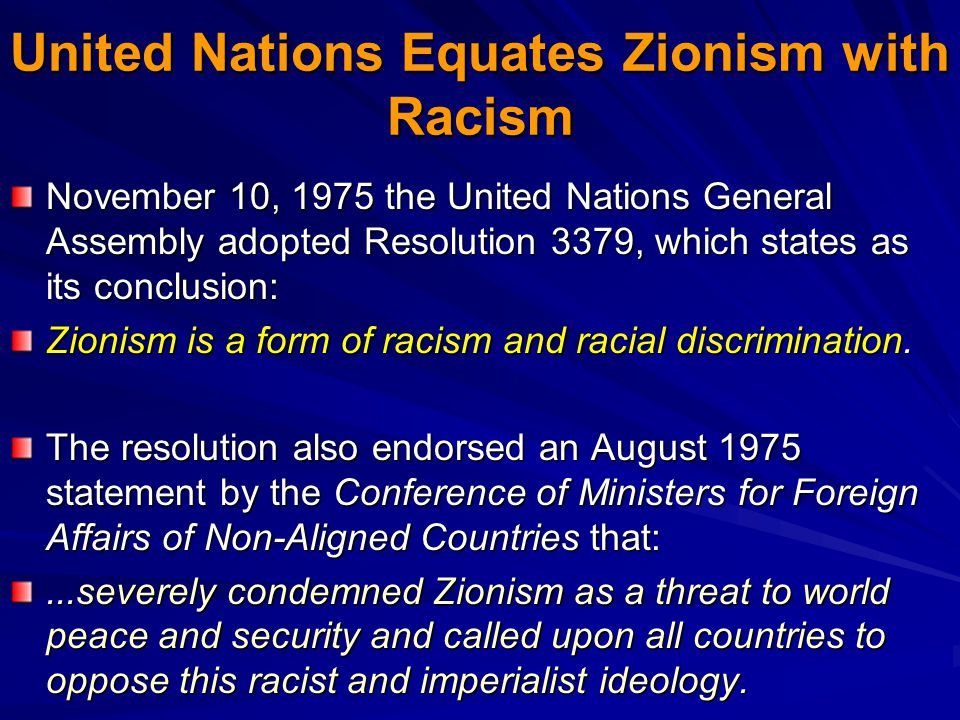 United Nations Equates Zionism with Racism