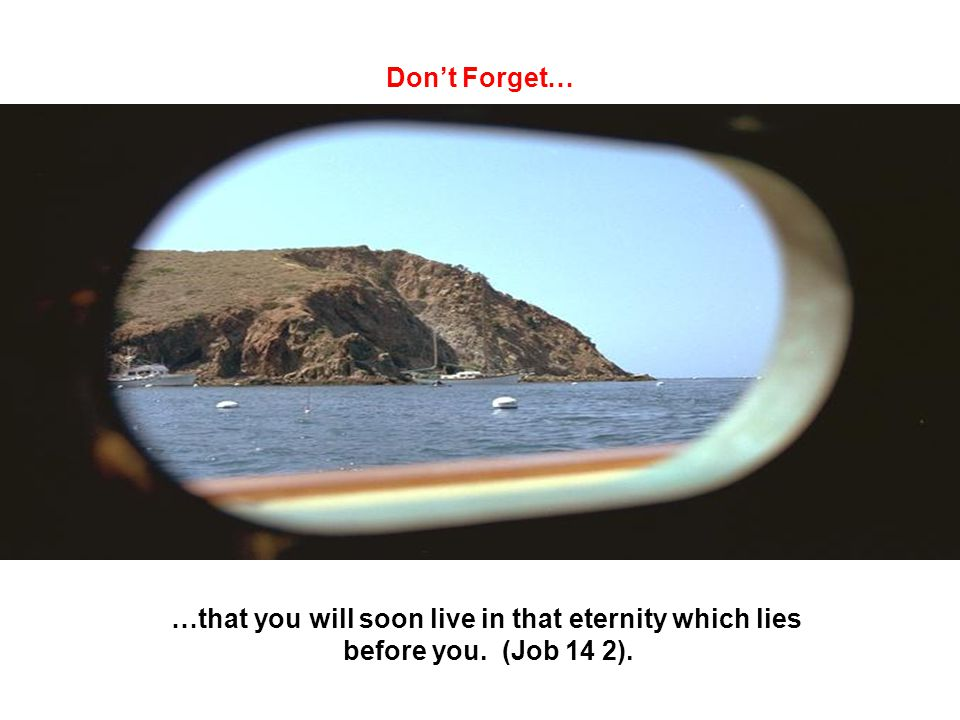 Don't Forget… …that you will soon live in that eternity which lies before you. (Job 14 2).