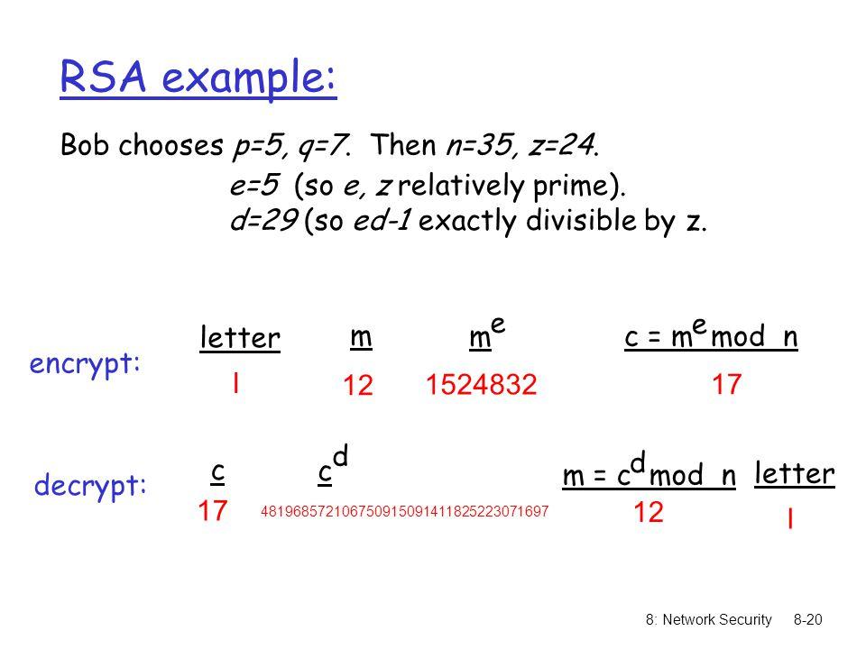 Bob chooses p=5, q=7. Then n=35, z=24.