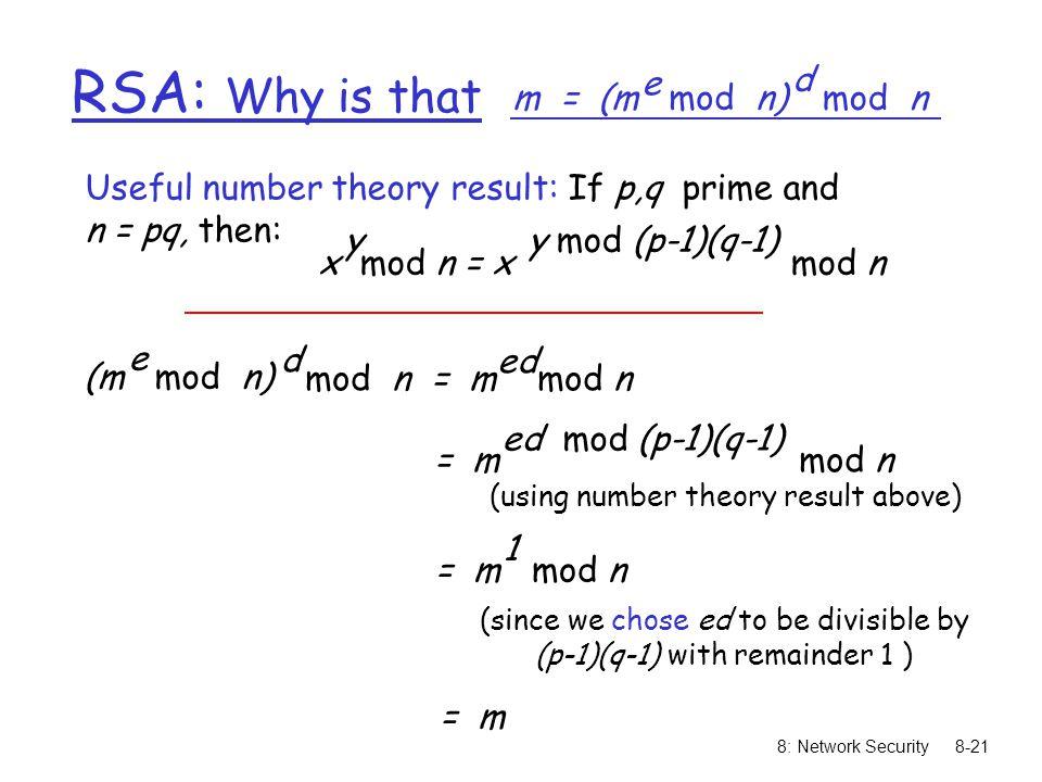 RSA: Why is that m = (m mod n) e mod n d