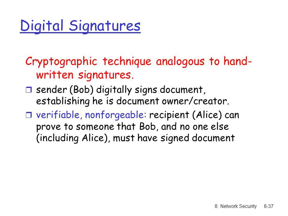 Digital Signatures Cryptographic technique analogous to hand-written signatures.