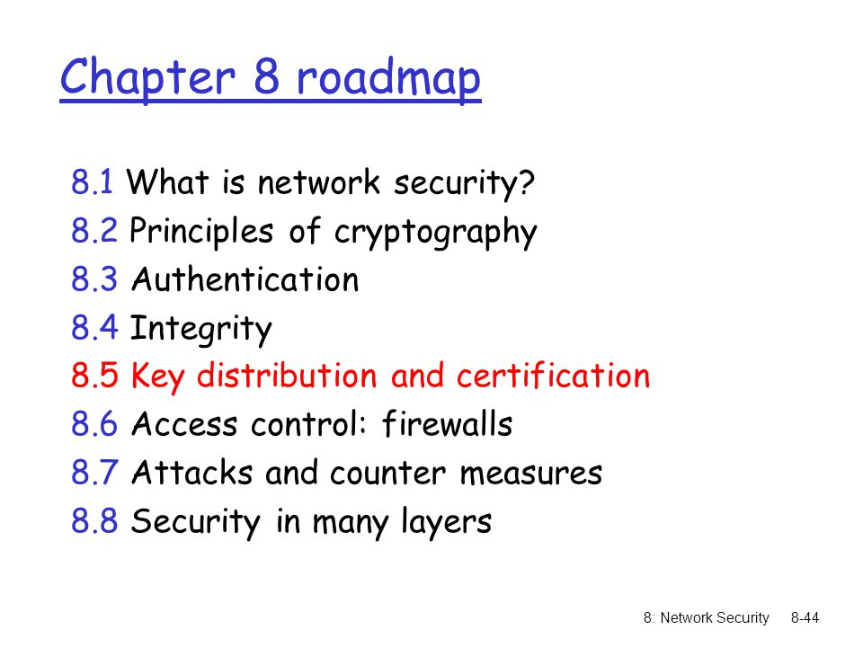 Chapter 8 roadmap 8.1 What is network security