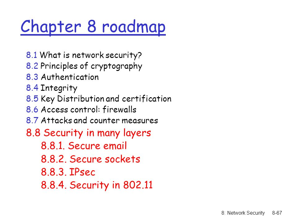 Chapter 8 roadmap 8.8 Security in many layers 8.8.1. Secure email