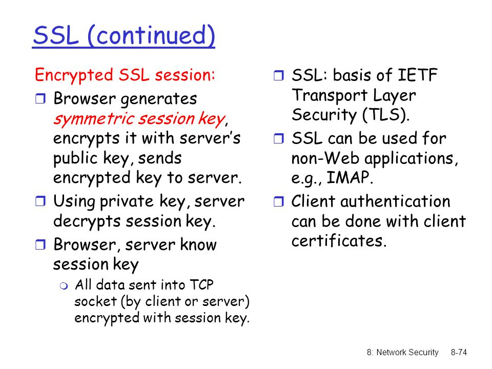 SSL (continued) Encrypted SSL session: