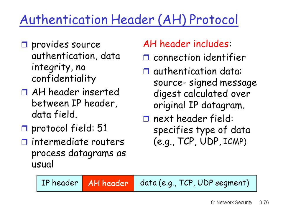 Authentication Header (AH) Protocol