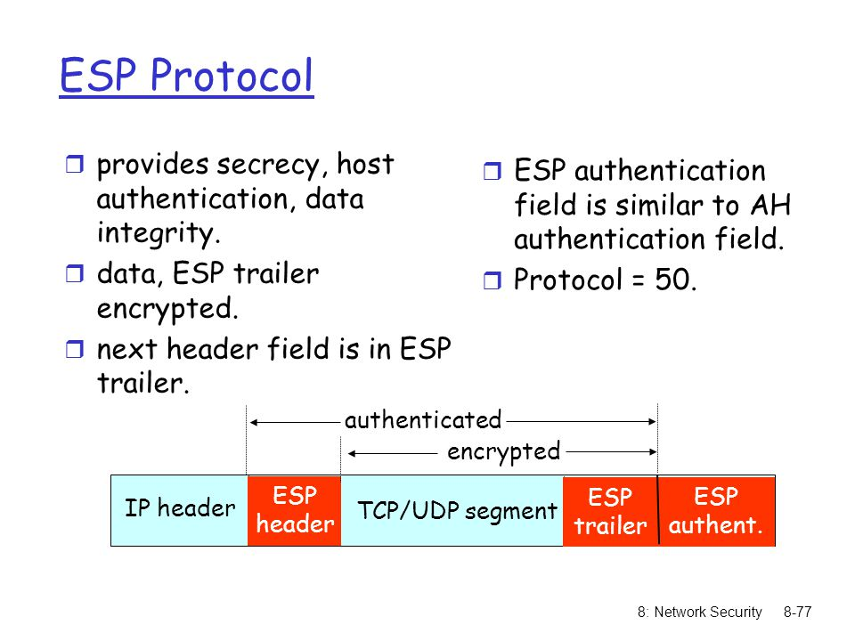 ESP Protocol provides secrecy, host authentication, data integrity.