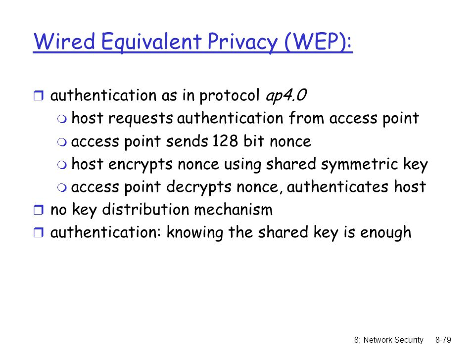 Wired Equivalent Privacy (WEP):