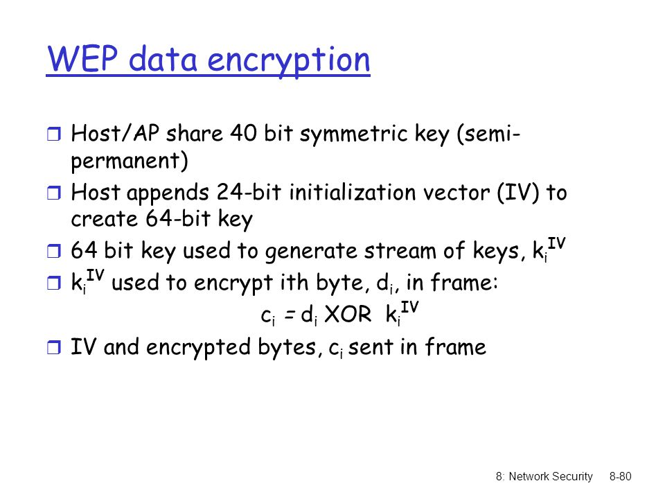 WEP data encryption Host/AP share 40 bit symmetric key (semi-permanent) Host appends 24-bit initialization vector (IV) to create 64-bit key.