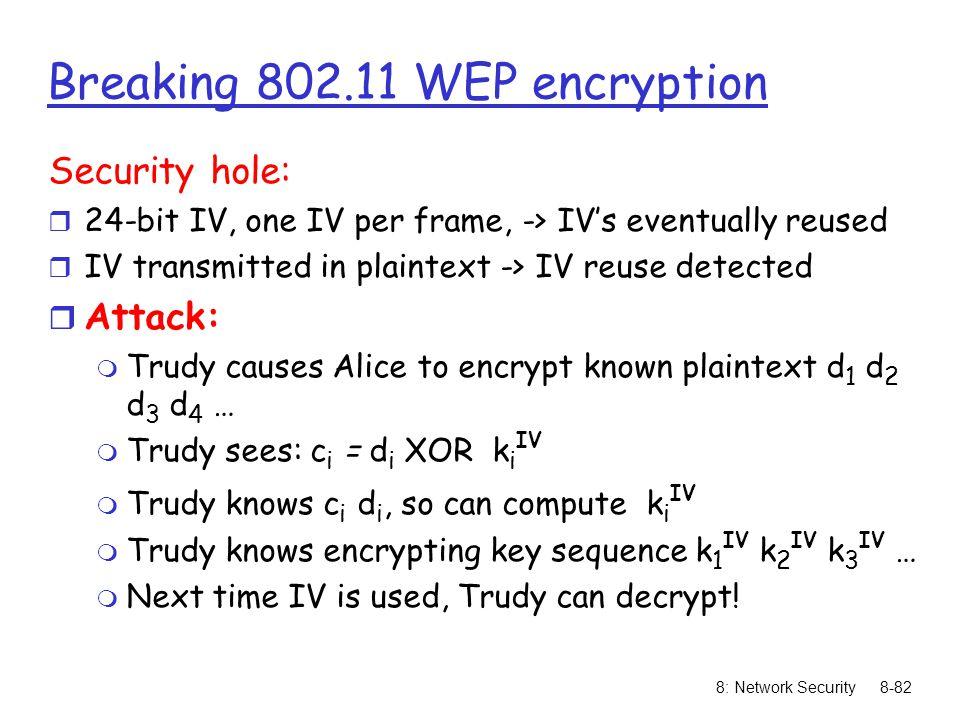 Breaking 802.11 WEP encryption