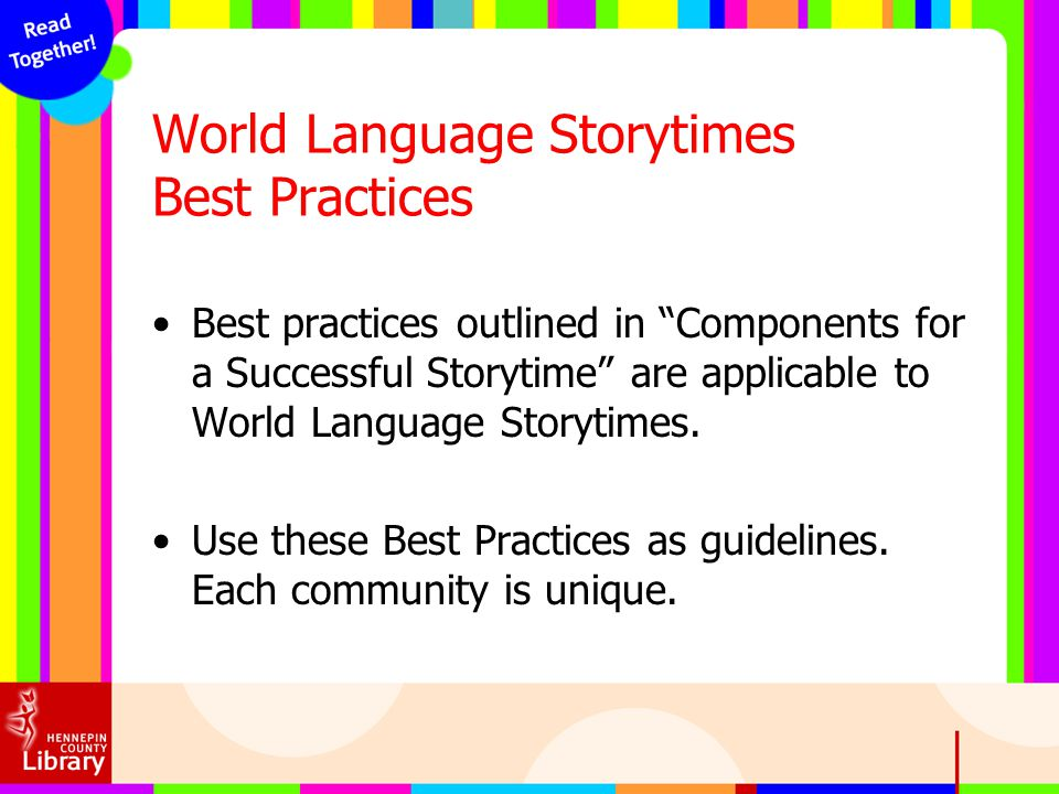 World Language Storytimes Best Practices