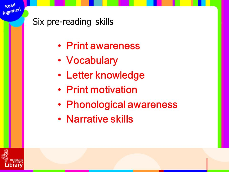 Six pre-reading skills