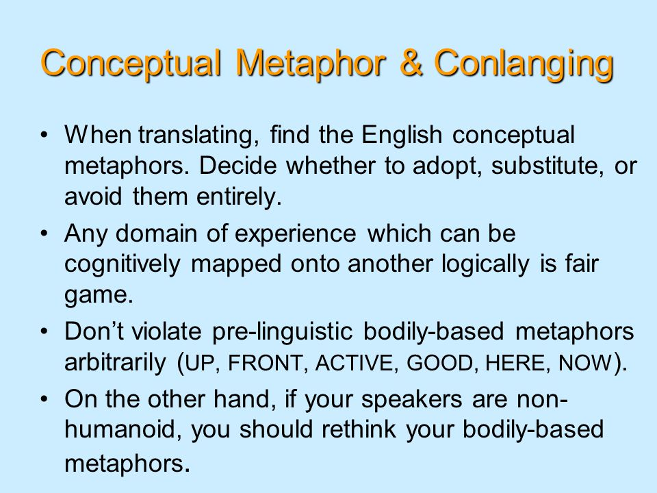 Conceptual Metaphor & Conlanging