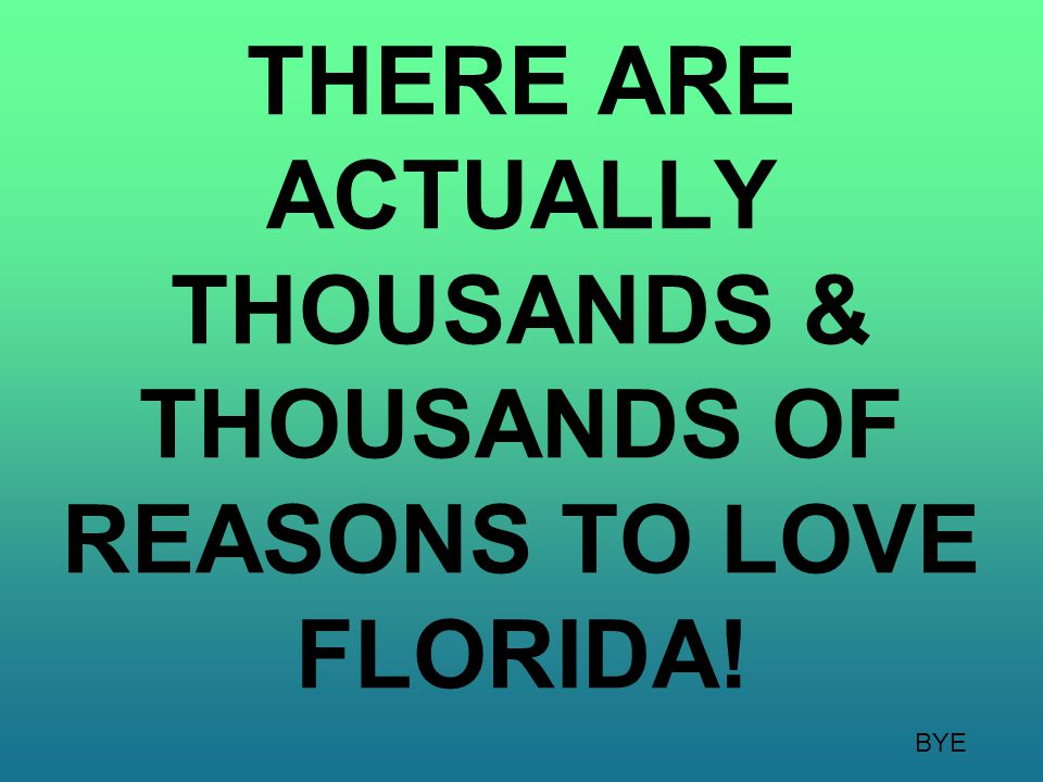 THERE ARE ACTUALLY THOUSANDS & THOUSANDS OF REASONS TO LOVE FLORIDA!