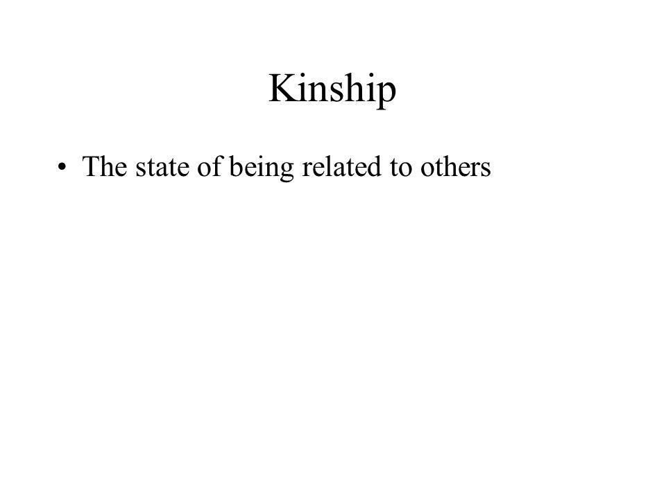 Kinship The state of being related to others