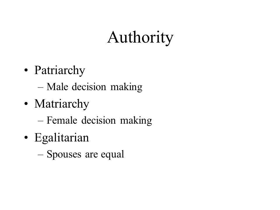 Authority Patriarchy Matriarchy Egalitarian Male decision making
