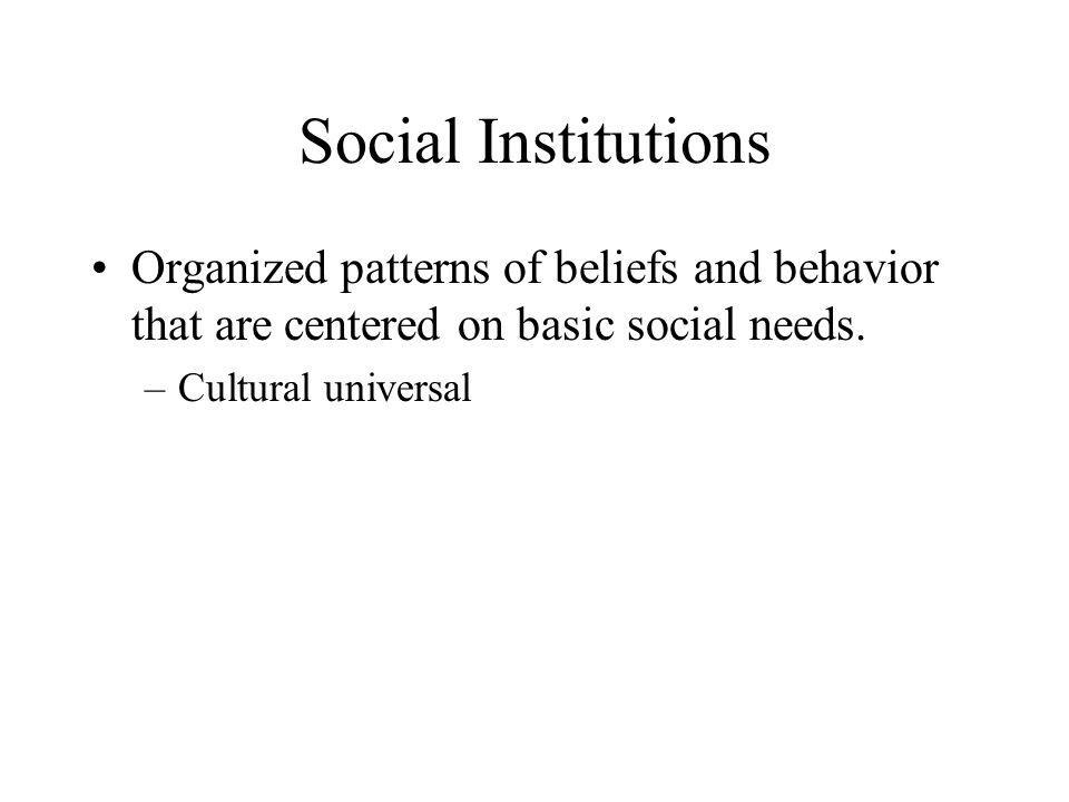 Social Institutions Organized patterns of beliefs and behavior that are centered on basic social needs.