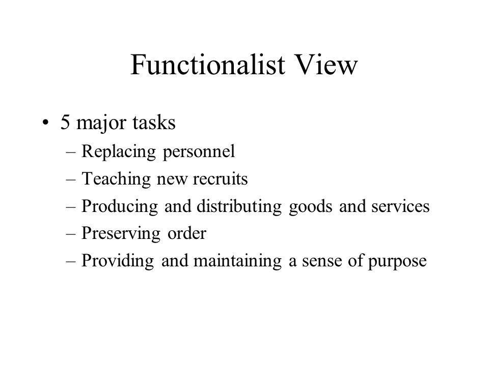 Functionalist View 5 major tasks Replacing personnel