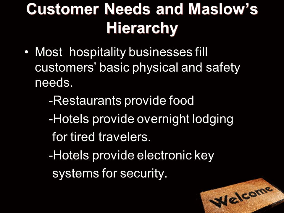 Customer Needs and Maslow's Hierarchy