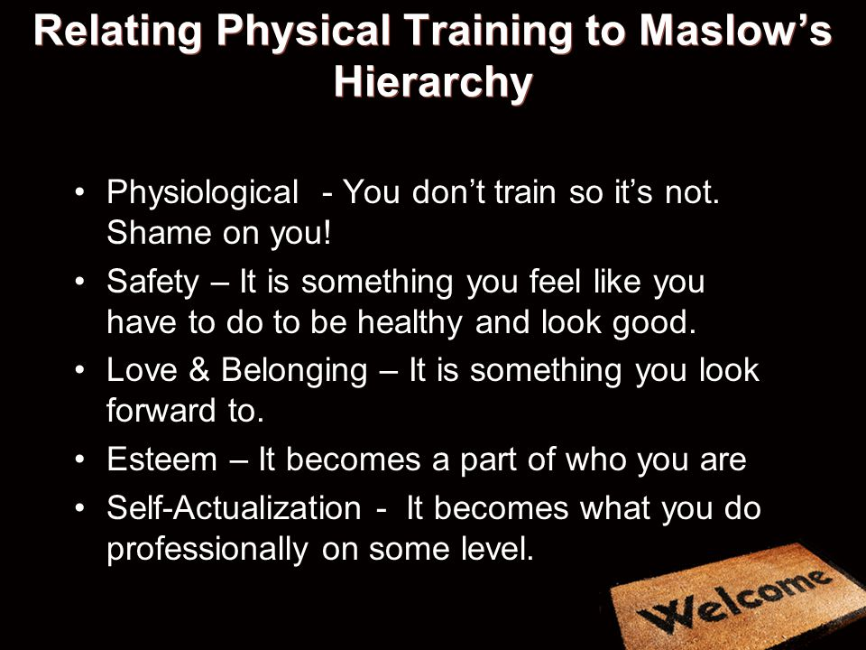 Relating Physical Training to Maslow's Hierarchy