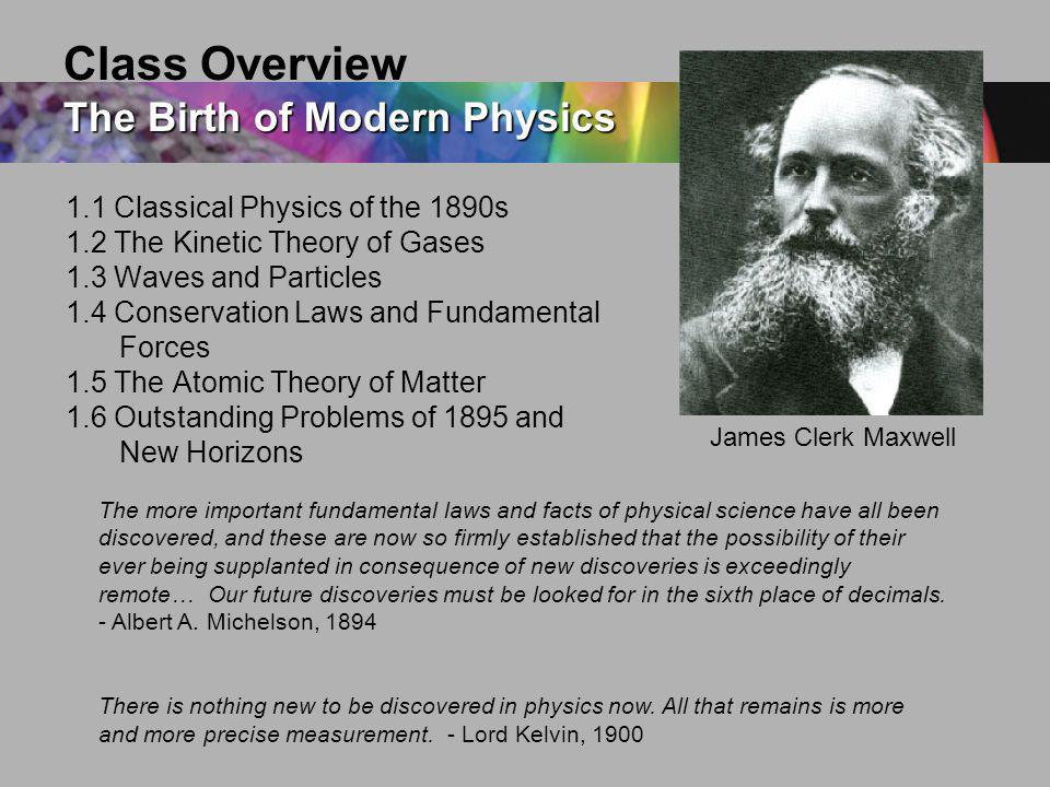 Class Overview The Birth of Modern Physics
