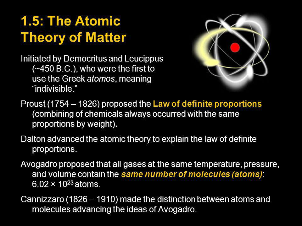 1.5: The Atomic Theory of Matter