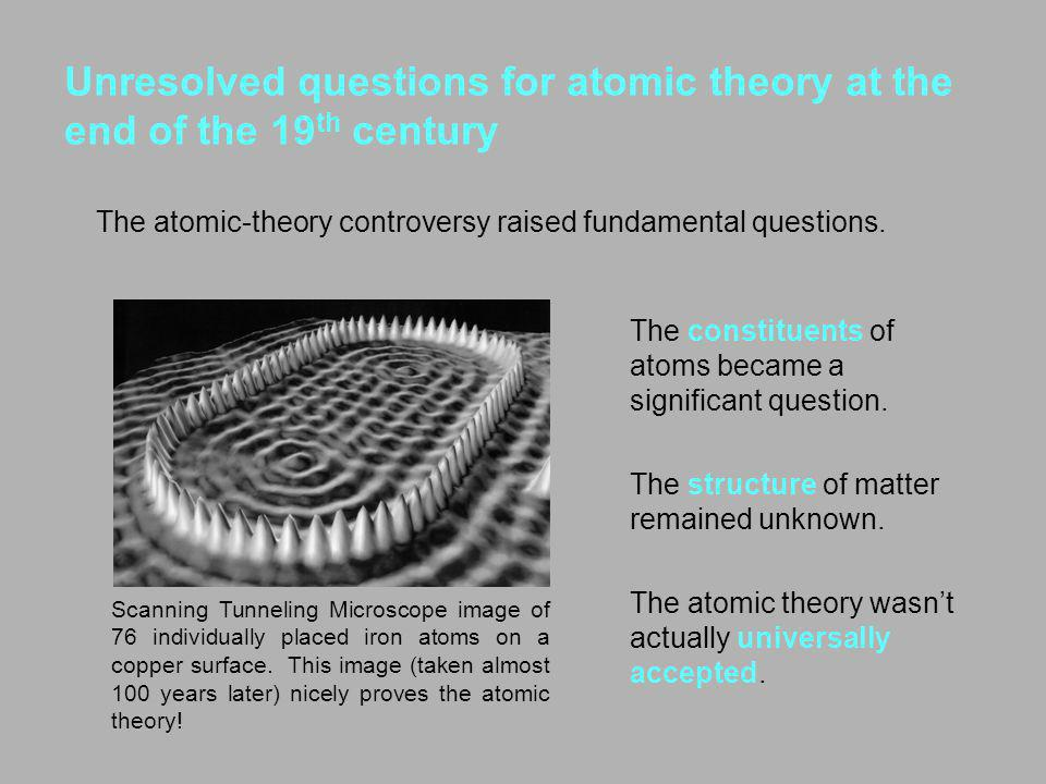 Unresolved questions for atomic theory at the end of the 19th century