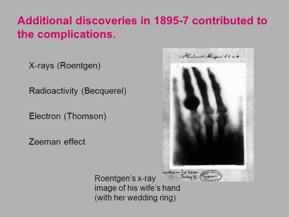 Additional discoveries in 1895-7 contributed to the complications.