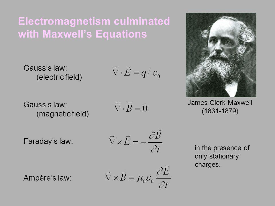 Electromagnetism culminated with Maxwell's Equations