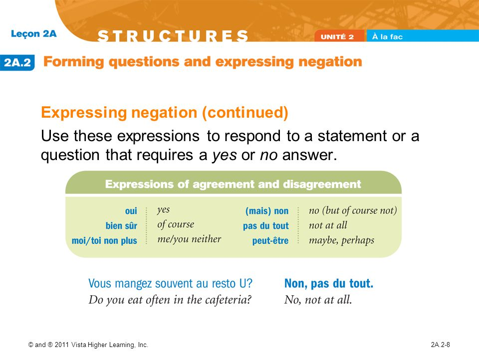 Expressing negation (continued)