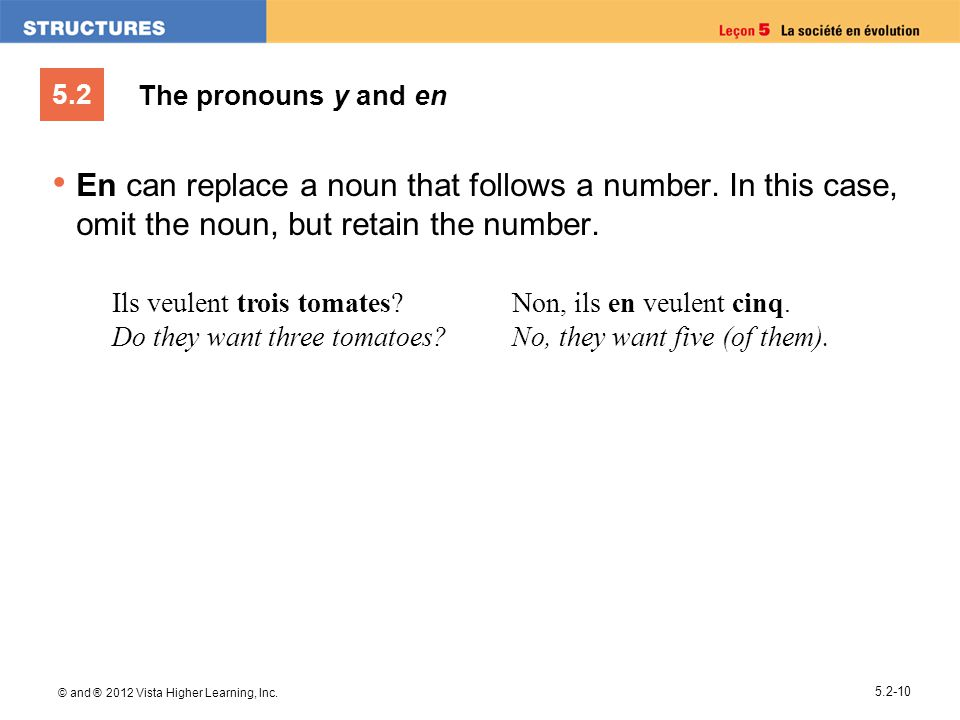 The pronouns y and en En can replace a noun that follows a number. In this case, omit the noun, but retain the number.